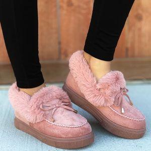 Blush Fuzzy Slip-on Moccasin Slippers